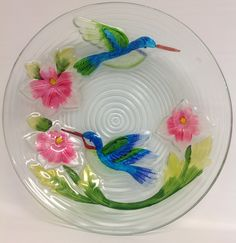 "Hummingbird Couple birdbath. 17 1/2""  $44.00"