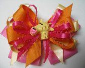 Hair Bow Hot PINK Orange soft Yellow Giraffe Boutique Toddler Girl Fashion Layered Grosgrain Handmade