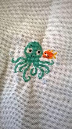 Ośmiornica. octopus. Durene Jones. haft, haft krzyżykowy, cross stitich