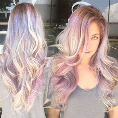 This hair color trend is ideal for you. Opal hair color is like a rainbow of shimmering pastels on top of blonde or silver hair. Hair Color And Cut, Cool Hair Color, Unique Hair Color, Cabello Opal, Opal Hair, Dye My Hair, Grunge Hair, Great Hair, Purple Hair