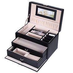 SONGMICS Black Jewelry Box Faux Leather Organizer with Mini Travel Case UJBC126B >>> ** AMAZON BEST BUY **