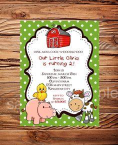 Farm Animals Birthday Party Invitation Farm by StellarDesignsPro, $15.00