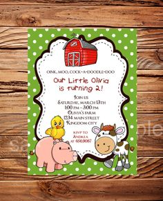 Farm Animals Birthday Party Invitation Farm by StellarDesignsPro, $15.00
