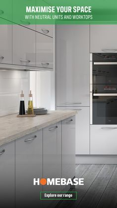 Create the illusion of more space with light units. Urban Kitchen, New Kitchen, Kitchen Ideas, Kitchen Decor, Grey Kitchens, Home Kitchens, Grey Kitchen Designs, Gloss Kitchen, Shaker Furniture