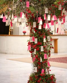 wishing tree..great idea for people at reception while waiting for bride/groom and wedding party to arrive, while sipping on cocktails and eating canopies!!!