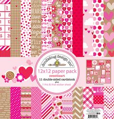 Doodlebug Design - Sweetheart Collection - 12 x 12 Paper Pack