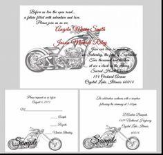 100 personalized custom harley davidson motorcycle bridal wedding, Wedding invitations