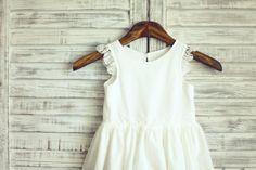 Boho Beach Ivory Cotton Lace Flower Girl Dress Sleeves by misdress