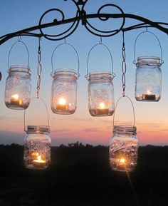 Diy Wedding Mason Jars Lanterns Hangers 6 Diy Outdoor Party Hanging Candle Kits…