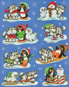 Vintage Hallmark Adorable Pups Penguins and Seals Winter Sticker Sheet