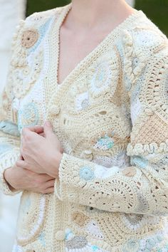 Freeform Crochet Bolero Shrug Cardigan in Beige White and by dront