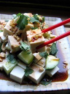 Cold Cucumber and Tofu Salad with Fresh Cilantro and Roasted Peanuts