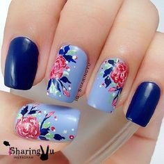 The Blue water colored Nail Art Design. This very pretty blue floral nail art design iis going to be perfect for your denim days. The colorful spray over the blue base is pretty amazing. Fancy Nails, Pink Nails, Pretty Nails, My Nails, Nail Art Designs, Flower Nail Designs, Nails Design, Blue Nails With Design, Blue Design