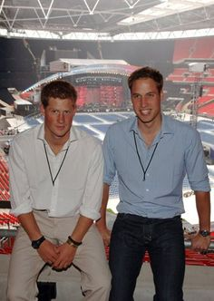 Prince Harry and Prince William at  Wembley Stadium July, 2007