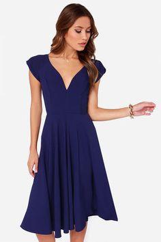 Cute Royal Blue Dress - Midi Dress - Modest Dress - $45.00