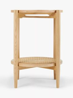 John Lewis & Partners Stacked Cane Side Table, Natural at John Lewis & Partners Table Storage, John Lewis, Rattan, Two By Two, Shelves, It's Easy, Wood, Interior, Living Rooms