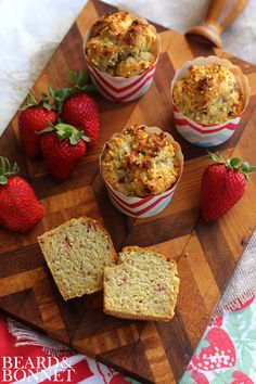 Fresh strawberries pair with honey, lemon zest, & millet for a g-free strawberry millet muffin that is subtly sweet & has a great little crunch!