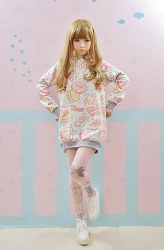You can buy the same tights as the model wearing here  Cat tights  Get a Donut Tee here http://spreepicky.store...