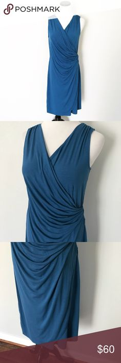 TOMMY BAHAMA Blue faux wrap crossover Dress Gently worn. Tommy Bahama Blue crossover wrap Dress, sleeveless. Medium. Soft and stretchy, viscose and spandex. Tommy Bahama Dresses
