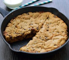 Caramel stuffed skillet cookie.  A ribbon of glossy caramel is baked right in to this chocolate chip skillet cookie!