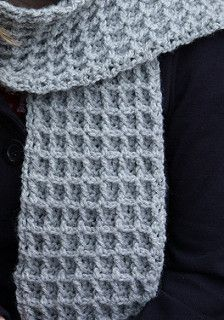 This warm scarf's pattern is similar to winter thermals. (Lion Brand Yarn)