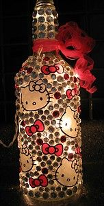 Precious you need one of these. Hello Kitty Crafts, Hello Kitty Rooms, Hello Kitty House, Hello Kitty Themes, Wine Bottle Art, Wine Bottles, Crafts For Kids, Arts And Crafts, Diy Crafts