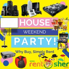 It's time for some fun on this weekend. Visit #RentSher to hire a wide range of party products on rent like #Speakers, #Projectors #Screens, #Microphone, #DJConsole, #GamingConsole, #BarAccessories, #BarbecueGrill, #BeanBag, #PartyProps, #Tents and much more at an affordable price along with delivery and pickup across Bangalore. https://goo.gl/yWC66u