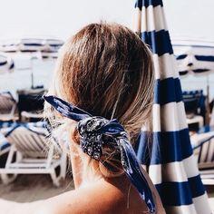 Tie a bandana in your hair ponytail bun updo idea