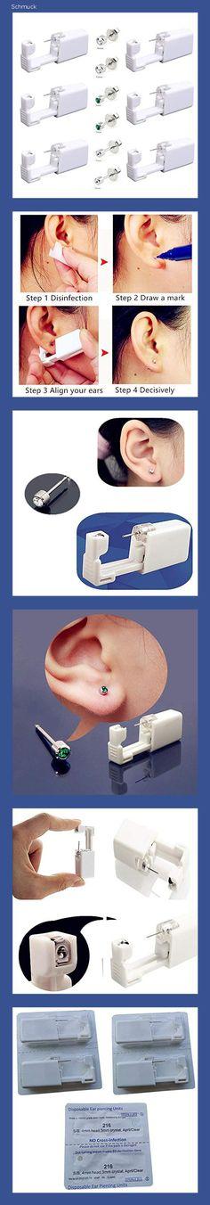 Einweg-Ohr-Piercingpistole mit Ohrsteckern, sicher und schmerzfrei, für Mädchen, Damen, Herren, 6 Stück - 1519