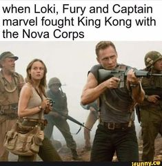 when Loki, Fury and Captain marvel fought King Kong with the Nova Corps – popular memes on the site Avengers Humor, Funny Marvel Memes, Marvel Jokes, Dc Memes, Funny Comics, Loki Meme, Loki Thor, Loki Laufeyson, Funny Memes