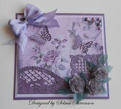 Butterflies and Roses.  New dies and design paper from Joan's Gardens.
