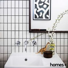 Carmen had created a in her with and As featured in the June 2015 issue of homes+. Mirror Artwork, Black Tiles, Contemporary Style Homes, House And Home Magazine, Fresh Flowers, Basin, Interior Inspiration, Tape, House Design