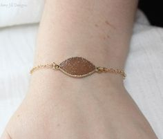 Tan Druzy Bracelet 14k Gold Filled Chain Druzy by AmyJillDesigns,