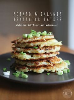 A delicious and simple recipe for healthier Latkes! Naturally gluten free, egg free and vegan recipe with a half-baked cooking method that uses less oil!