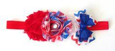 4th of July Shabby Flower Headband  Hair by AddieLuBowtique, $9.00