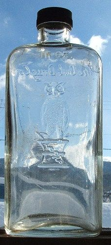 Large Pint Size old OWL DRUG Co antique bottle w/ pic of owl on druggist's mortar.  via Etsy.