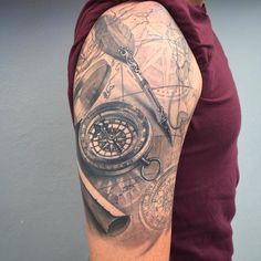 César Tattoo Navy Tattoos, 3d Tattoos, Tattoo Drawings, Body Art Tattoos, Tattoos For Guys, Sea Tattoo, Make Tattoo, Arm Sleeve Tattoos, Tattoo Sleeve Designs