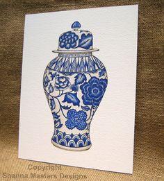 blue & white porcelain print