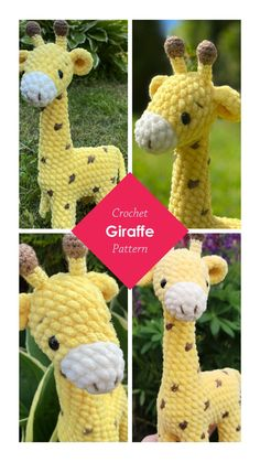 Crochet Giraffe Pattern, Plush Pattern, Crochet Animal Patterns, Stuffed Animal Patterns, Crochet Patterns Amigurumi, Crochet Animals, Crochet Ideas, Handmade Toys, Handmade Ideas