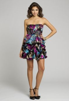 Homecoming Dresses - Strapless Metallic Print Pick-Up Short Dress from Camille La Vie and Group USA