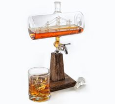Whiskey / Bourbon Decanter - Liquor Dispenser for Vodka, Rum, Wine, Tequila or Mouthwash - Glass Decanter with Stainless Steel Spigot: Liquor Decanters Bourbon Whiskey, Whisky, Bourbon Gifts, Scotch Whiskey, Vodka, Alcohol Dispenser, Whiskey Dispenser, Whiskey Decanter, Crystal Decanter