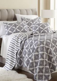 picturesque better homes and gardens quilts. Elise  James Home Preston Navy Quilt Collection with a navy and white medallion design Seahorse Reversible Bedding