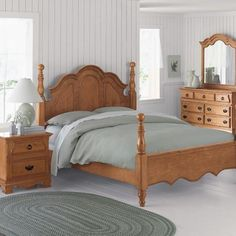 pine furniture in a bright bedroom
