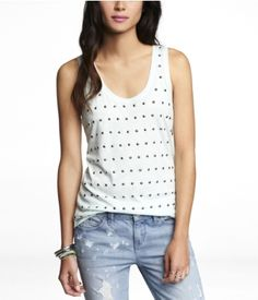 STUDDED FRONT SHIRTTAIL TANK | Express. Bought it in mint!!
