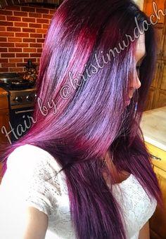 Purple hair, violet hair, red hair, red violet hair color, violet balayage, violet ombre, AVEDA, Paul Mitchell color, pravana vivids, 5vr, Olaplex