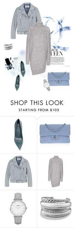 """Grey dress"" by murenochek ❤ liked on Polyvore featuring Sergio Rossi, Chanel, Acne Studios, Topshop and David Yurman"