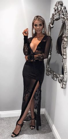 d70043ed1e sexy black deep v neck prom dresses with sleeves