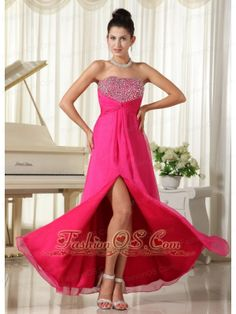 High Slit Strapless and Beaded Decorate Bust Hot Pink Prom Dress- $139.24  http://www.fashionos.com     rissyrooss dress on fashionos | trendy prom dresses | fashionos dress at your service | popular prom dress in md 2016 | laura pausinis dress |