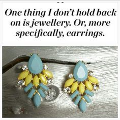 """Color splash earrings NWT Brighten up your day with these delicious earrings!! Splendid color combination of lemon yellow and sea blue with rhinestones on gold toned metal.  Brand new, never worn Stud earrings Approx 1.5"""" in length Jewelry Earrings"""