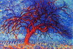 "Piet Mondrian""Arvore vermelha"",1910. Abstracionismo"